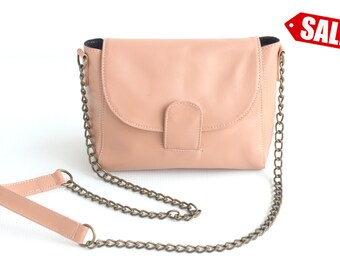 ROXY Leather Crossbody Bag. Leather Chain Purse. Small Leather Bag. Small Leather Purse. Small Purse. Cross Body Bag. Pink Shoulder Purse