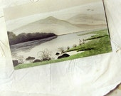 antique postcard - hand painted miniature landscape - lake and mountains - signed
