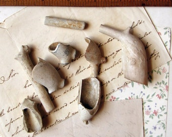 antique clay pipe heads - white broken china pieces - sea pottery - unusual cab settings - beachcombing mudlark finds