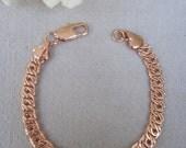 "Elaborate Flattened Snail Link Rose Gold 7"" Chain Bracelet"