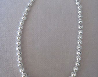 """Silver Single Strand of 10mm High Polish Beaded 20"""" Necklace"""