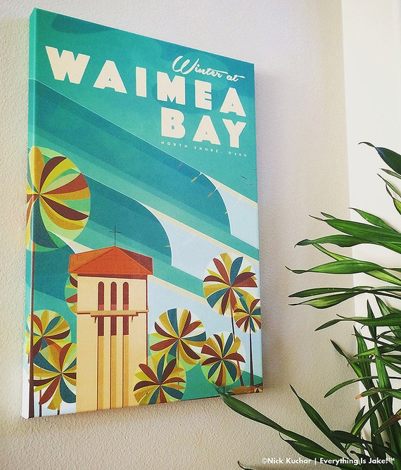 Waimea Bay - 16x24 Canvas Wrap Giclee