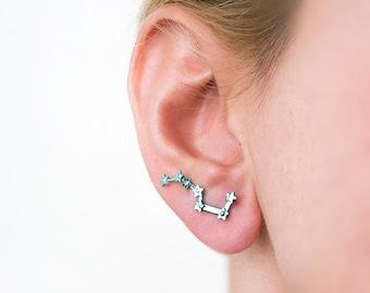 Earrings constellation jewelry, Big Dipper, galaxy jewelry, ear cuffs, ear crawler, titanium earrings, ear climbers, star earrings silver
