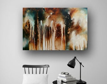 Abstract Painting on Canvas, Vivid Brush Stroke, Rustic Painting, Original Painting, Loose Painting, Fine Art, Heather Day