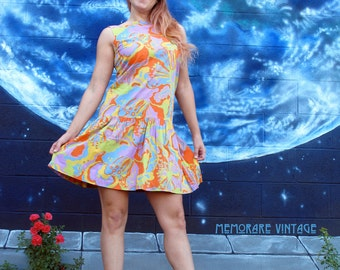 1960s 1950s psychedelic DRESS midi colorful fitted drop waist day cotton metal zipper retro vintage // size : S / M