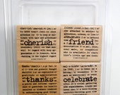 Stampin Up Lexicon of Love Wood Mount Stamp Set  (Set of 4 Stamps) Retired Cherish Thanks Friend Celebrate