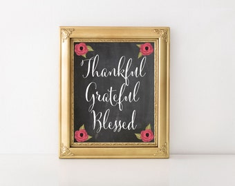 Thankful Quote/ Grateful Quote/Blessed Printable Quote, Affirmation, Wall Art, Printable Gift, Digital Download, Digital Print