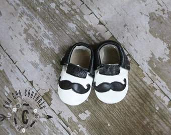 SALE SALE Sale WOW! Mustache Mania  100% genuine leather baby moccasins Mocs moccs top quality, first birthday,