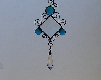Turquoise, Suncatcher, Stained Glass, Home Decor, Victorian, Decorative,