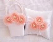 Peach and Cream Flower Girl Basket and Pillow  Singed Chiffon Flowers Ring Bearer Pillow, Flower Girl Basket Wedding Pillow