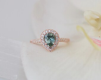Blue Green Sapphire Pear Shape Rose Gold Diamond Halo Engagement Ring