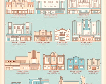 Theatres of New South Wales retro illustrated print