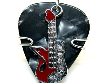 Black Guitar Pick with a Beautiful Red Guitar Charm