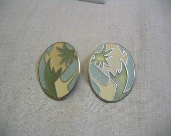 1980s Tropical Design Pierced Earrings