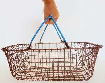 Vintage Wire Basket with Blue Plastic Covered Handles