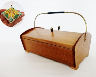 Mid Century Sewing Box Knitting Basket Organizer with Complementary Pin Cushion