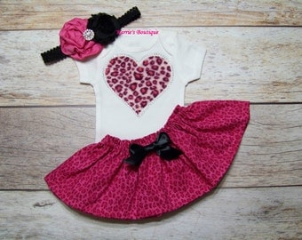 Valentine's Day Bling Heart Outfit / Pink Cheethah / Onesie or Shirt + Skirt / Rhinestones / Leopard / Infant / Baby / Girl / Toddler