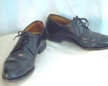 1950's Men's Shoes Leather Dress Shoes Black Leather Tie Oxfords