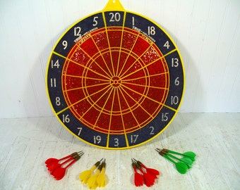 Wooden Dart Board Complete with 4 Sets & 2 Sizes Original Darts Made in England Vintage Trio Hollander Two Sided Retro GameRoom Wall Decor
