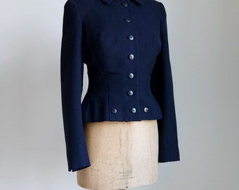 1940s Tailored dark navy wool jacket