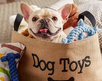 Dog Toys Burlap Storage Basket