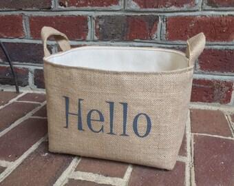Hello Goodbye Burlap Storage Basket Set
