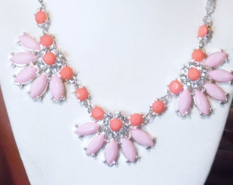 Coral n Pink Crystal Necklace, Bib Necklace, Statement Necklace, Pink Pearl Necklace, Strand Necklace, One of a Kind Necklace