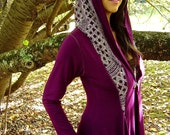 Diana Stretch Fit Maxi Jacket Hoodie Coat with Pockets in Purple with Moroccan Print Hood / Fairy Couture, Playa, Priestess
