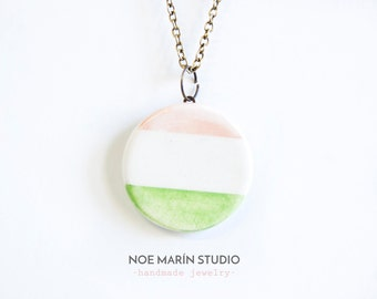 Jewelry necklace ready to ship, Geometric jewelry, Geometric statement, Ceramics & Pottery, Pottery jewelry, Jewellery, Noe Marin, Ceramics