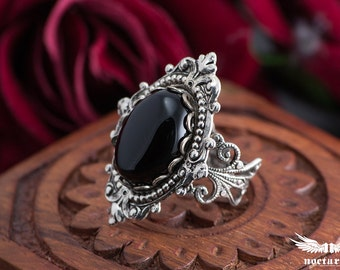 Black Onyx Victorian Ring - Ornate Gothic Ring - Victorian Gothic Jewelry