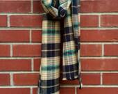 Unisex Plaid Winter Scarf 100% Cotton Soft Warm Flannel Beige Black Long Fringed