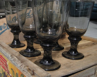 Libbey Smoke Glass Water Goblet Set of 8