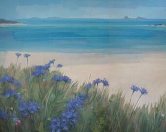 "Scillies Beach, Impressionist Landscape Painting Signed Print 11""x11"""