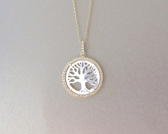 Mother of Pearl Tree of Life Necklace - MOP Necklace - Tree of Life - Gold Necklace - Pendant Necklace