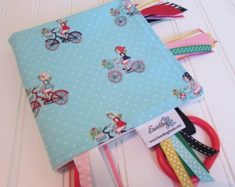 Sensory Ribbon Blanket,Lovey,Tag Blanket/Bike Ride in Aqua/Organic Cotton Fleece