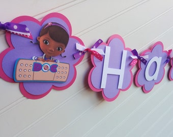 Doc McStuffins banner, Girls Birthday banner. Doc McStuffins Birthday. Doc McStuffins Party. Doc McStuffins Decorations.