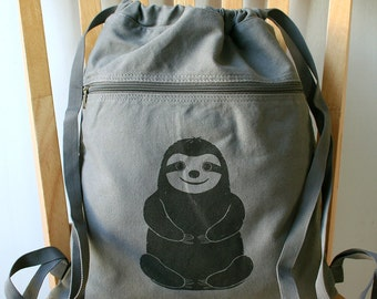 Sloth Canvas Backpack Laptop Bag Book Bag