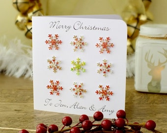 Personalised Christmas Card - Merry Christmas, Happy Holidays, Snowflakes, Xmas Cards, Happy Christmas, Personalized Red Gold BHX01
