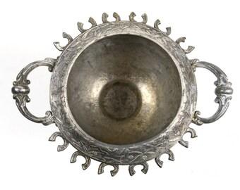 silverplate sugar bowl, quadruple plate, repurpose, urn, flower pot, assemblage art piece, belmont, victorian, antique, cool shape