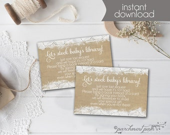 Bring a Book Insert Card - Burlap and Lace Baby Shower - Instant Download - Bring a book instead of a card -  Stock baby's library