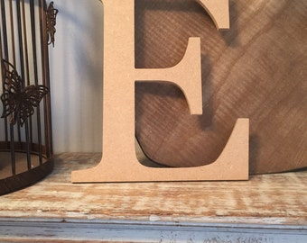 "wooden letters, wall letter, not free-standing, unpainted, Roman font, letter E,  8"" - READY TO SHIP"