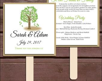 Tree Rustic Program Fans Kit - Printing Included. Wedding ceremony programs - monogrammed