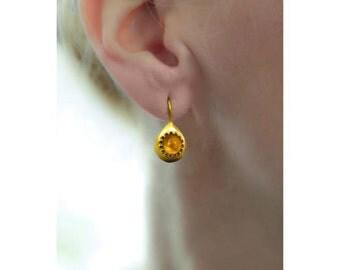 Gold Teardrop Earrings, Orange Citrine, November Birthstone, Teardrop Dangle Earrings, Gemstone Jewelry, Gold Earrings, Handmade Earrings