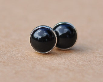 Black Onyx earrings handmade with Sterling Silver studs, 6 mm Mysterious black gemstone studs perfect for mother's day gifts