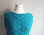Hand Knit Sweater   Sale Top   Crop Top   Teal Sweater   Chunky Knit   Sweater Vest   Pullover   Jumper