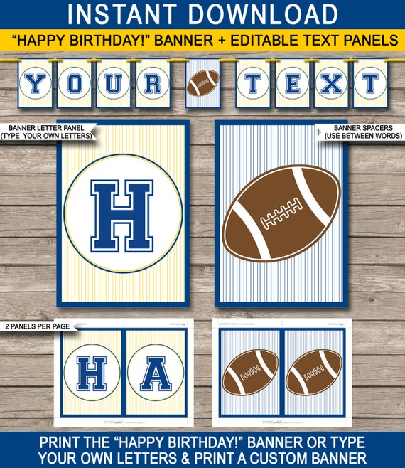 football party banner - birthday bunting - navy blue gold yellow