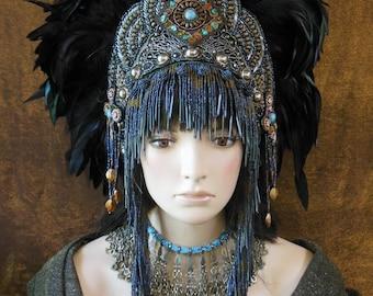 Fantasy feather Bohemian crown Headpiece headdress Warrior Tribal  Queen Princess  festival jewels beaded fringe