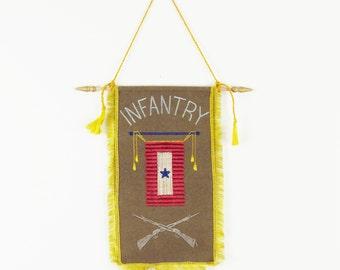 vintage wall hanging, vintage flag,  camp flag, vintage pennant, bunting, vintage embroidery, vintage military, STAR and RIFLES, INFANTRY