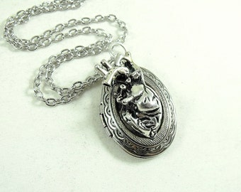 Anatomical Heart Locket Necklace, Mens Womens Gift  Handmade