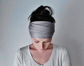 LUNA Yoga Headband - Silver Grey Jersey Head Scarf - Extra Wide Hair Wrap - EcoShag Headwrap - Hair Accessories - Womens Hair Accessory